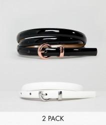 ASOS DESIGN 2 Pack Skinny Waist & Hip Belts In Patent - Multi