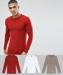 ASOS DESIGN 3 pack muscle fit longline long sleeve crew neck t-shirt save - Multi