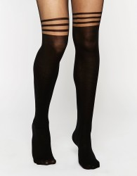 ASOS DESIGN 3 stripe over the knee tights with support - Black