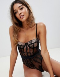 ASOS DESIGN Amber lace moulded underwire bodysuit - Black
