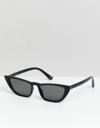 ASOS DESIGN angled cat eye sunglass in black - Black