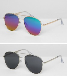 ASOS DESIGN aviator sunglasses 2pk in silver metal with smoke lens & gold metal with flash lens SAVE - Multi