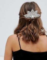 ASOS DESIGN back hair comb with filigree and jewel design in silver - Silver