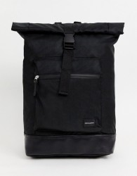 ASOS DESIGN backpack in black with roll top and front pocket - Black