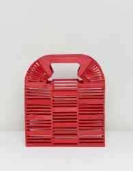 ASOS DESIGN bamboo square boxy clutch bag - Red
