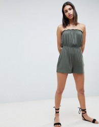 ASOS DESIGN Bandeau Jersey Playsuit With Shirred Waist - Green