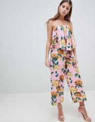 ASOS DESIGN Bandeau Jumpsuit With Drape Detail In Pink Floral - Pink