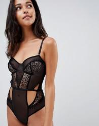ASOS DESIGN Blake sheer lace underwire bodysuit - Black