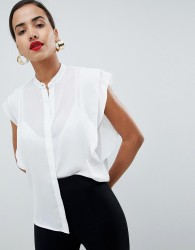 ASOS DESIGN blouse with frill shoulder - White