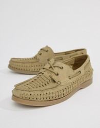 ASOS DESIGN Boat Shoes In Stone Suede With Woven Detail - Stone