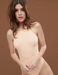 ASOS DESIGN body with high square neck in rib in beige - Pink