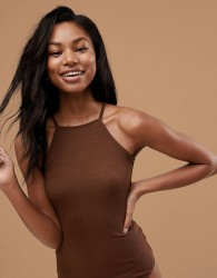ASOS DESIGN body with high square neck in rib in chestnut - Brown