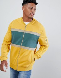 ASOS DESIGN bomber jersey jacket with colour blocking and MA1 pocket - Yellow