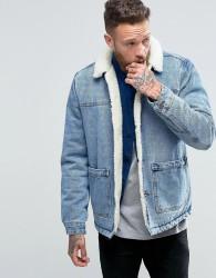 ASOS DESIGN borg lined denim jacket in blue wash - Blue