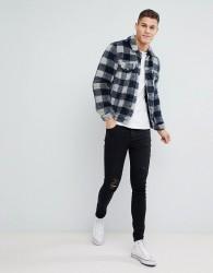 ASOS DESIGN borg western jacket in grey check - Grey