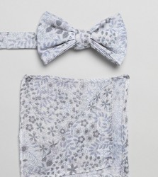 ASOS DESIGN bow tie and pocket square in white floral - White