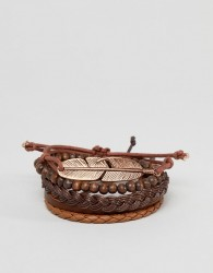 ASOS DESIGN Bracelet Pack In Brown With Rose Gold Feather - Brown