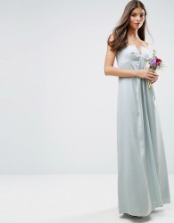 ASOS DESIGN Bridesmaid bandeau fold front maxi dress - Green