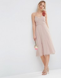 ASOS DESIGN Bridesmaid ruched midi dress with corsage strap - Pink