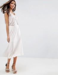 ASOS DESIGN Bridesmaid slinky drape front midi dress - Pink