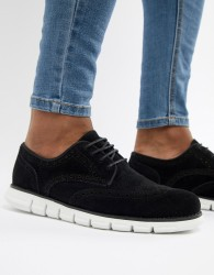 ASOS DESIGN Brogue Shoes In Black Faux Suede With Hybrid Sole - Black