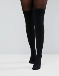 ASOS DESIGN cable over the knee tights with control top - Black
