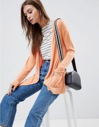 ASOS DESIGN cardigan in fine knit with rib detail - Orange