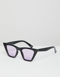 ASOS DESIGN cat eye sunglasses in black with lilac lens - Purple