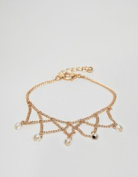 ASOS DESIGN chain bracelet with draping chain design in gold - Gold
