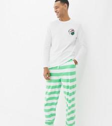 ASOS DESIGN Christmas pyjama set with brussel sprouts design - Multi