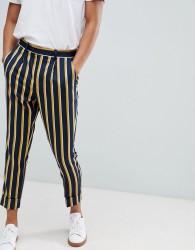 ASOS DESIGN cigarette smart trouser in navy stripe with turn up - Navy