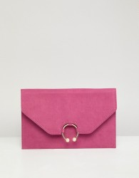 ASOS DESIGN clutch bag with ring pearl detail - Pink