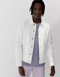 ASOS DESIGN co-ord denim jacket with purple stripe in white - White