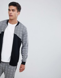 ASOS DESIGN co-ord jersey bomber jacket with panelling in check print - Black