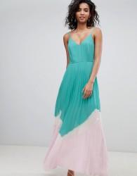 ASOS DESIGN Colour Block Pleated Maxi Dress - Multi