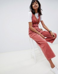 ASOS DESIGN cord button through belted jumpsuit in red brick - Red