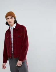 ASOS DESIGN cord western jacket in burgundy - Red
