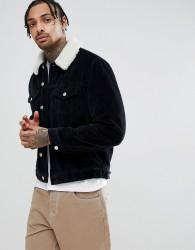 ASOS DESIGN cord western jacket with borg collar in black - Black