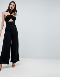 ASOS DESIGN Cross Front Jumpsuit With Twist Neck And Wide Leg - Black