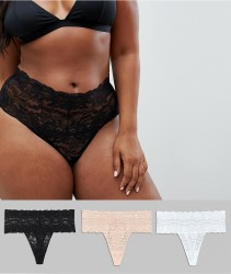 ASOS DESIGN Curve 3 pack deep lace thong - Multi