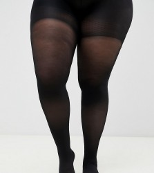 ASOS DESIGN Curve 60 denier tights with bum tum and thigh support - Black