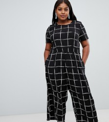 ASOS DESIGN Curve check print jumpsuit with short sleeve - Multi