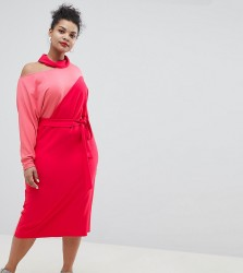 ASOS DESIGN Curve colour block dress with wrap belt - Multi