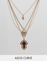 ASOS DESIGN Curve Exclusive multirow necklace with choker and crystal vintage icon and cross pendant in gold - Gold