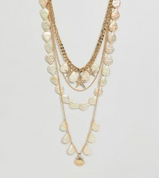 ASOS DESIGN Curve exclusive multirow necklace with shell and pearl charms in gold - Gold