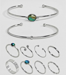 ASOS DESIGN Curve Exclusive Pack Of 10 Stone Cuff Bracelets And Rings - Silver