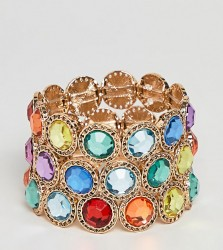 ASOS DESIGN Curve Exclusive pack of 3 bracelets with multicolour jewels in gold - Gold