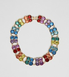 ASOS DESIGN Curve Exclusive statement necklace with multicolour jewels in gold - Gold
