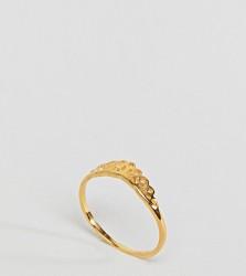 ASOS DESIGN Curve Gold Plated Sterling Silver Filigree V Ring - Gold