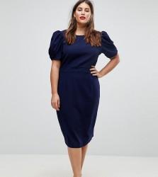 ASOS DESIGN Curve Midi Pencil Dress - Navy